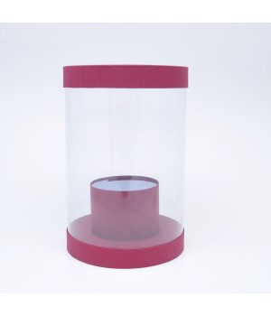 Коробка аквариум 20*30 см бордо ткань матовый