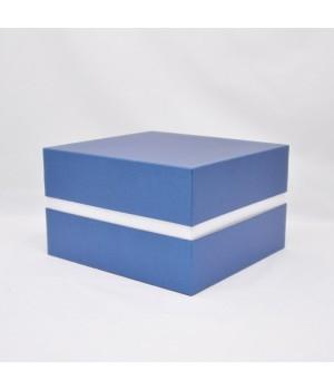 Коробка крышка -дно с проставкой 30*28*18 см синяя