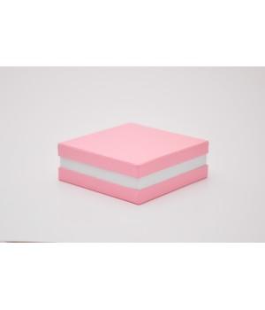 Коробка кришка -дно з проставкою 17*17*6 см рожевий (колор)