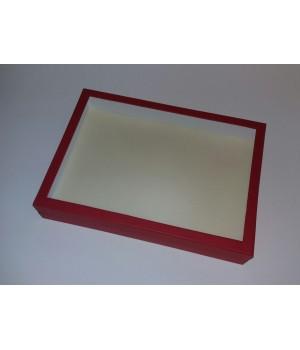 Коробка з пластиковим віконцем 35*25*6 см червона
