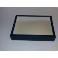 Коробка з пластиковим віконцем 35*25*6 см синя
