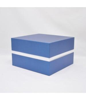 Коробка кришка -дно з проставкою 17*17*6 см синя
