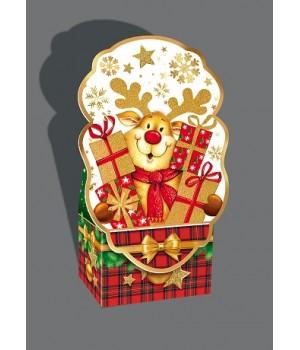 """Новорічна коробка """"Олень з подарунками"""" 1021а"""