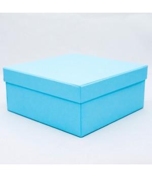 Подарочная коробка крышка-дно 18х18х8 см голубая