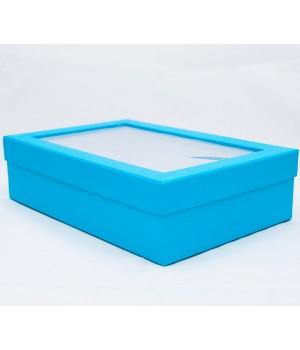 Коробка с пластиковым окошком 30*20*8 см голубая с блеском