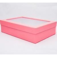 Коробка з пластиковим віконцем 30*20*8 см рожева з блиском
