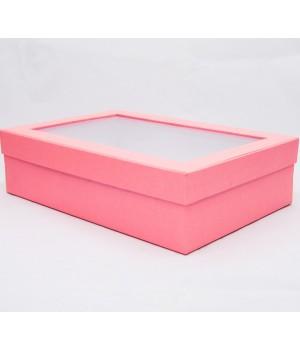 Коробка с пластиковым окошком 30*20*8 см розовая с блеском