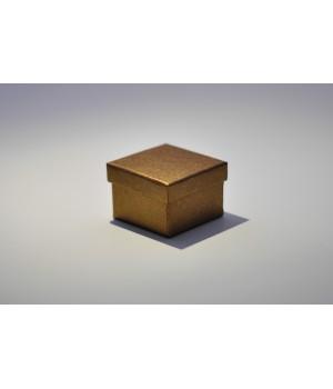 Коробка кришка-дно 5*5*3,5 см бронзова льон з блиском