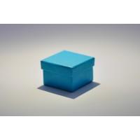Коробка крышка-дно 5*5*3,5 см голубая с блеском