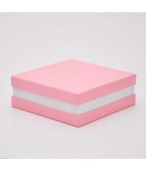 Коробка кришка -дно з проставкою 17*17*6 см рожева з блиском