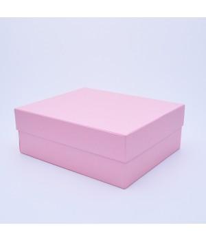Подарочная коробка крышка-дно 27x23x10 см розовая с блеском