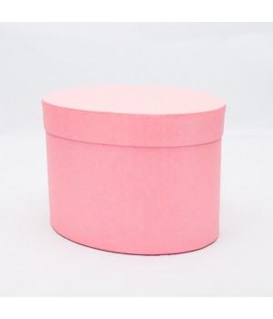Коробка овал 17*13*13 см рожеві нитки блиск