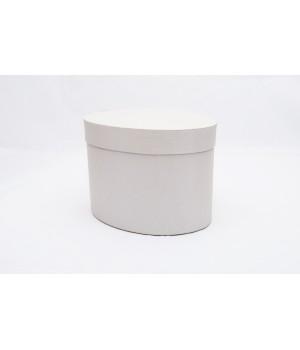Коробка овал 17*13*13 см срібло льон з блиском