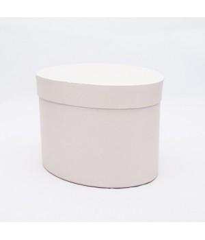 Коробка овал 17*13*13 см молочний гладкий блиск