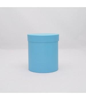 Круглая коробка 12*14 см с крышкой голубая с блеском.