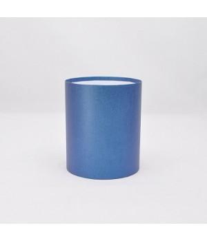 Круглая коробка 11,8*14 см без крышки синий точка блеск
