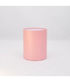 Круглая коробка 11,8*14 см без крышки розовая лен с блеском