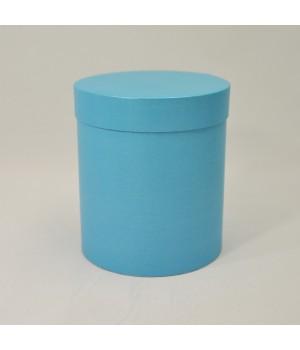 Кругла коробка 15*17 см з кришкою блакитний льон блиск