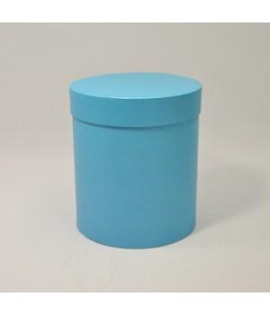 Кругла коробка 15*17 см з кришкою блакитний гладкий блиск