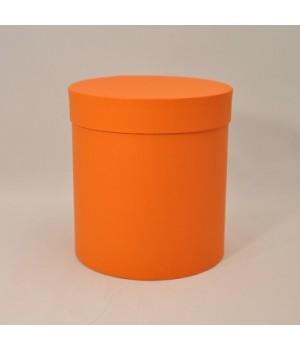 Круглая коробка 15*17 см с крышкой оранжевый колор