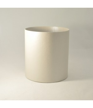 Круглая коробка 15*17 см без крышки белая, лён матовый