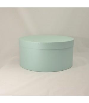 Круглая коробка 35*17 см с крышкой мятный нитки блеск