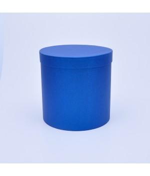 Кругла коробка 20*20 см синій льон блеск